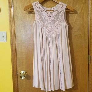 Sleeveless Trapeze Dress with Crocheted Yoke